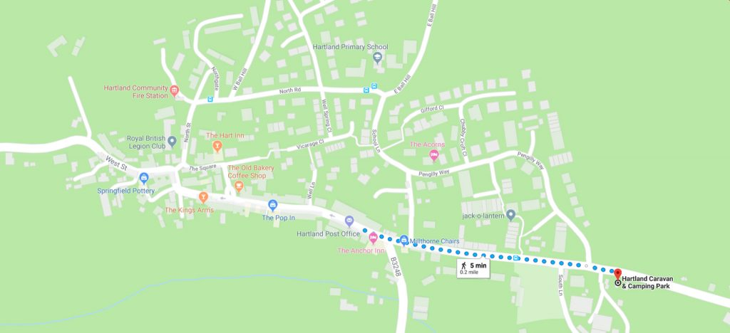 Google maps walking directions from Hartland Caravan and Camping Park to the village centre