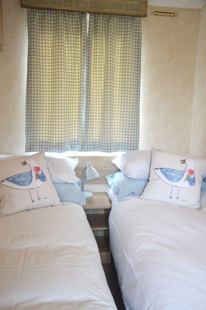 Static Caravan twin bedroom